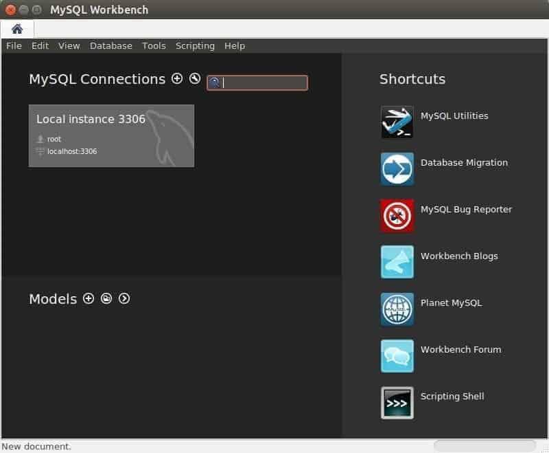 L'exécution de MySQL Workbench capture