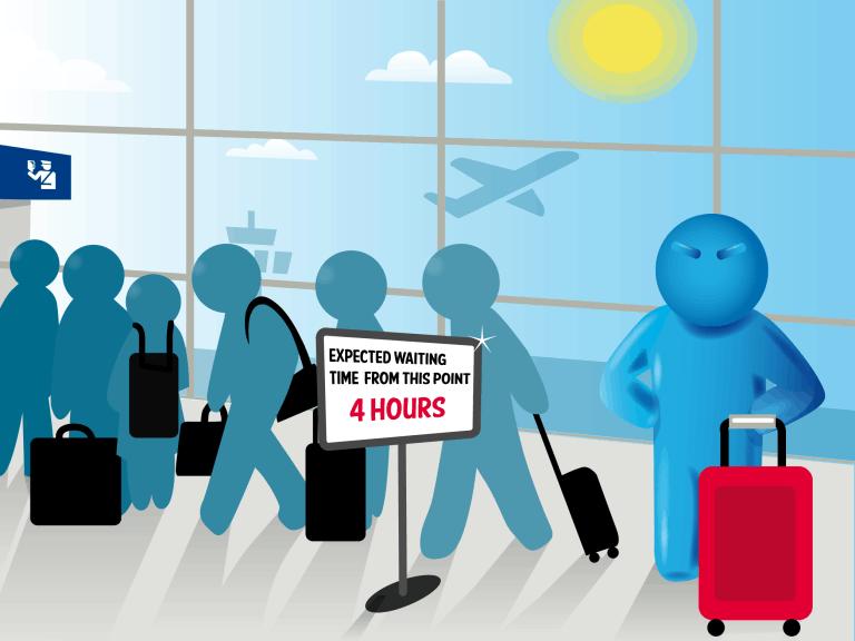 dibujo que ilsutra la espera de 4 horas en el aeropuerto