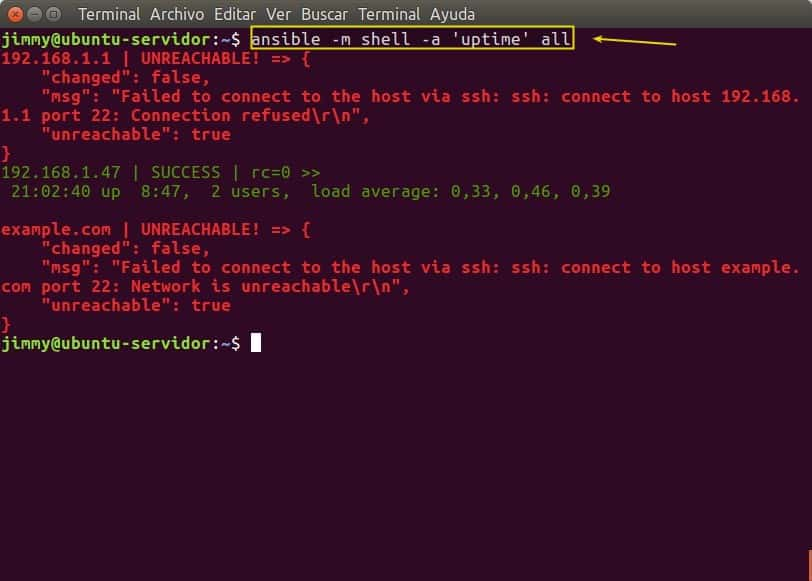 ansible -m shell -a 'uptime' all