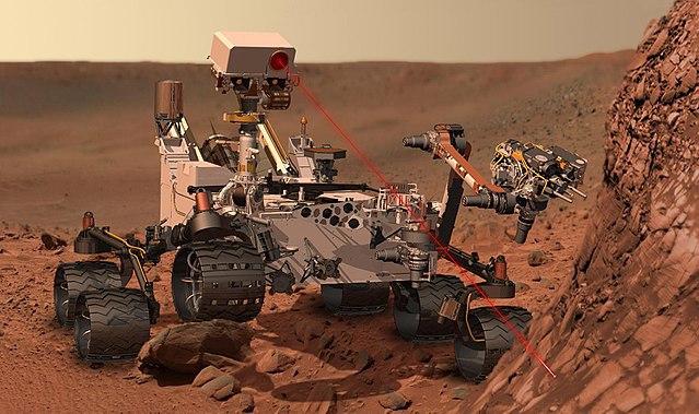 "Artistic concept of a Martian explorer, the ""Curiosity"""