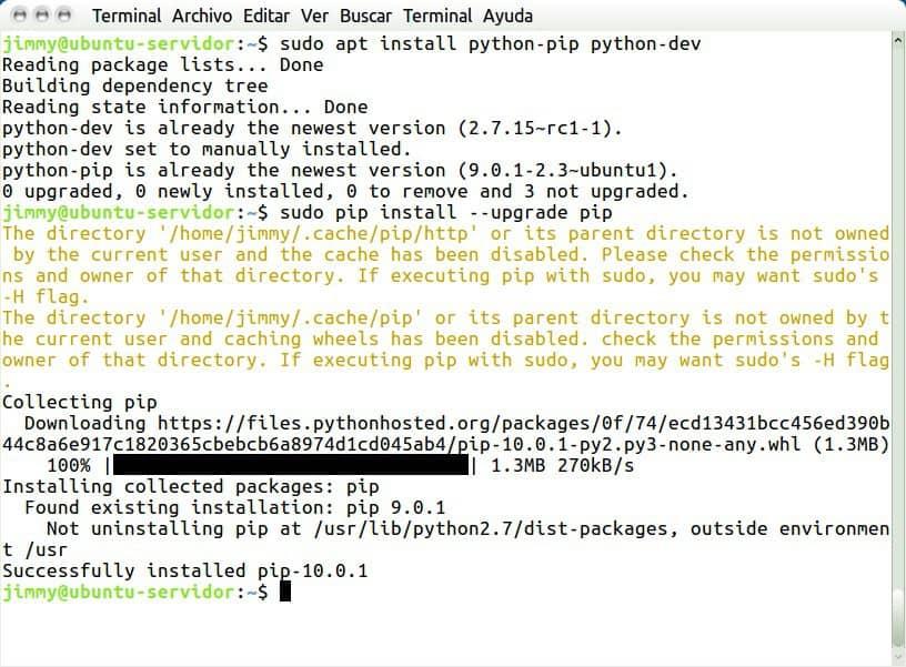 sudo apt install python-pip python-dev sudo pip install --upgrade pip