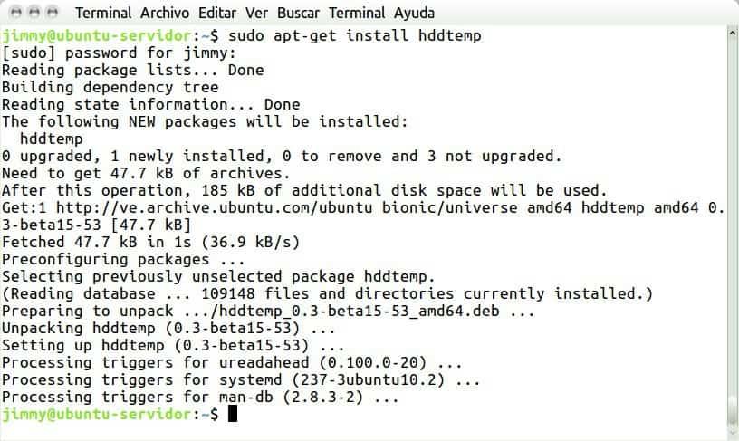 sudo apt-get install hddtemp