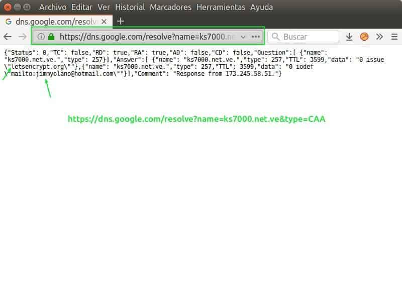Consulta a Google de una Autorización de la Autoridad de Certificación (CAA)