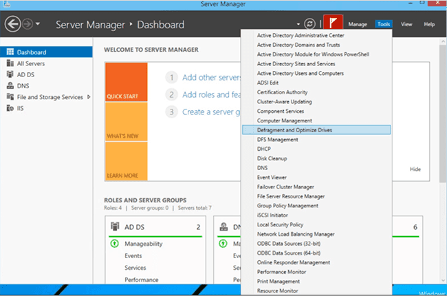 outils système server manager