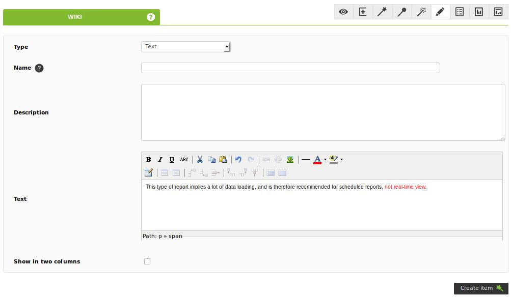 File:Text report module - item editor tab - reporting