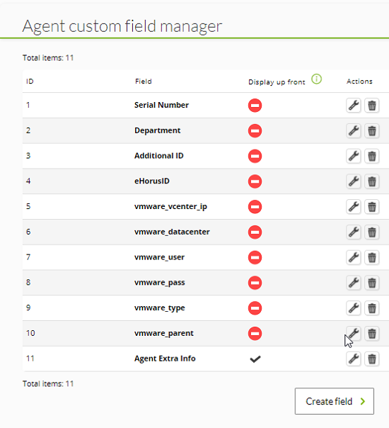 Custom field manager for agents