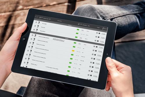 Monitoring system tablet mockup - Monitoring system