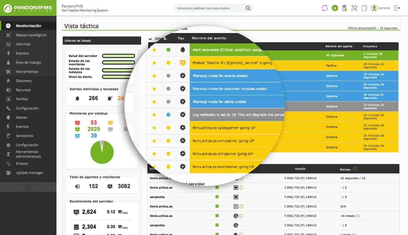 Surveillance de serveurs personnalisée screenshot pandora fms