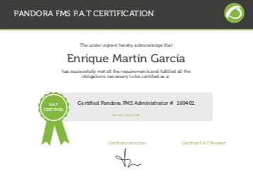 official certificate PAT and PAE pandora fms featured