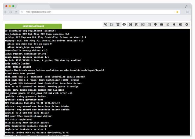 control remoto de servidores captura de pantalla dashboard