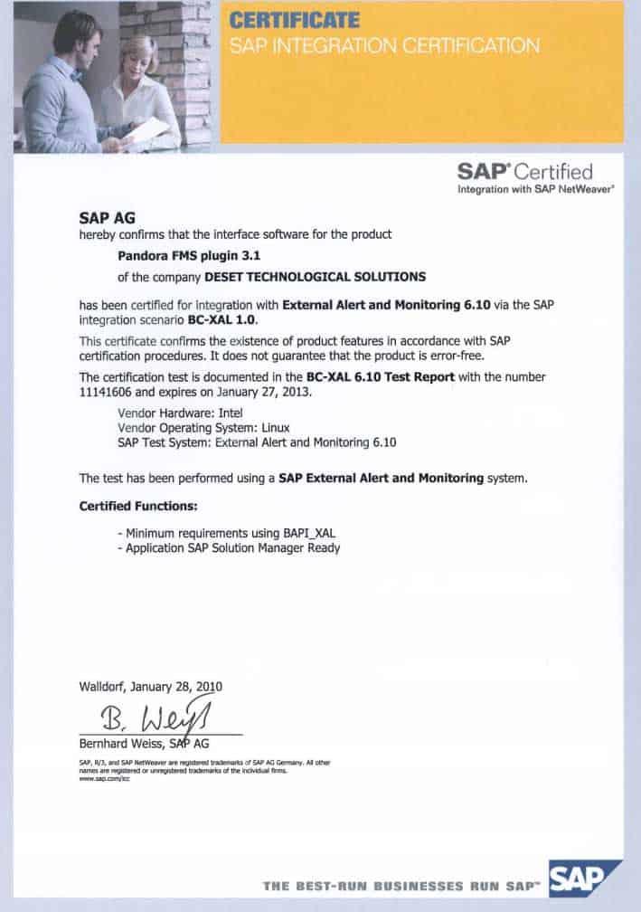 SAP integration certificate Pandora FMS