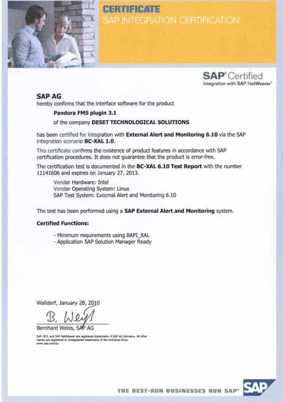 Certificate SAP oficial de Pandora FMS