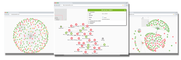 capturas de pantalla de herramienta de mapeo de red automatica con pandora fms mockup