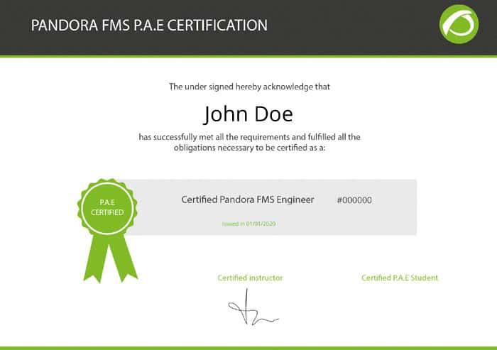 formacion y certificaciones oficiales de pandora fms sobre monitorizacion pat pae