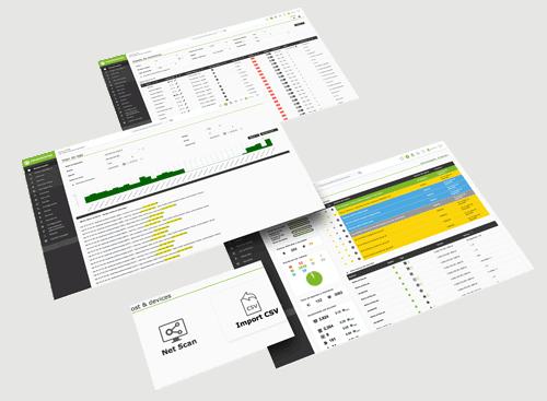Monitoreo de aplicaciones con Pandora FMS dashboard pantallas mockup