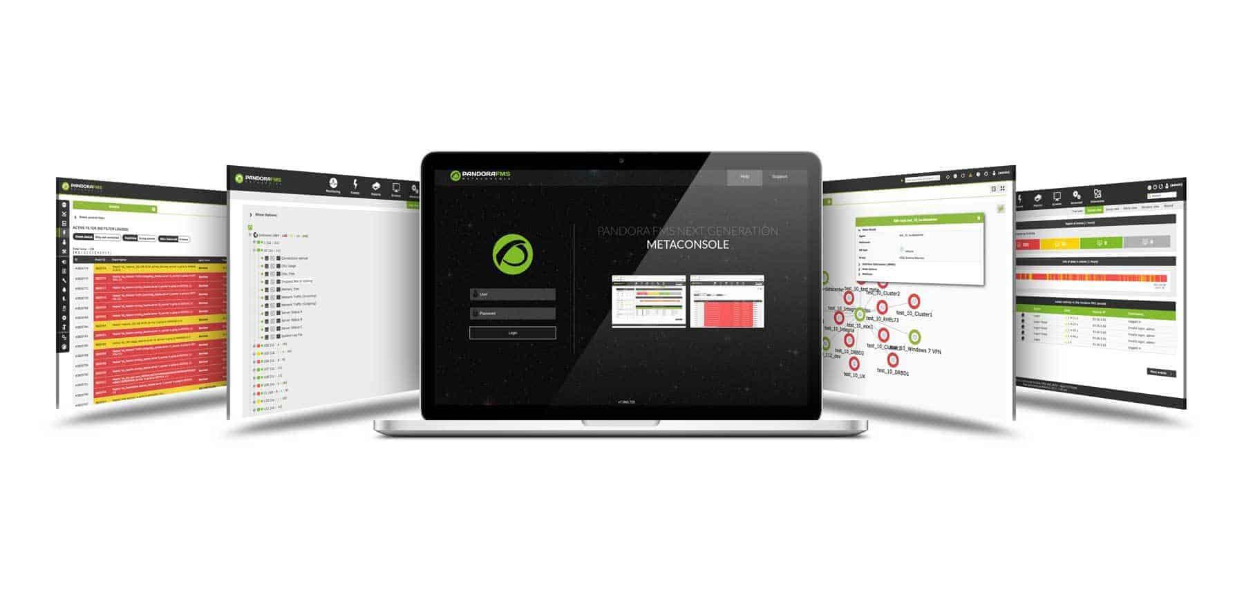 accesso analisi e risoluzione demo pandora fms mockup dashboard